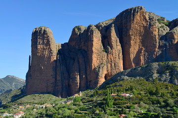 The Mallos de Riglos, set of conglomerate rock formations, Spain