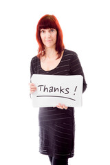 Mature woman showing thanks sign on white background