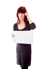 Mature woman showing a blank placard