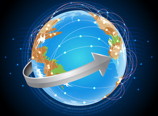 Global telecommunication technology background