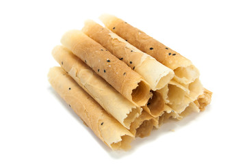 Thai dessert, Roll wafer isolated on white background