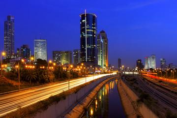 Night view on Tel Aviv, Israel.