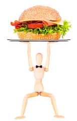 wooden Dummy with tasty sandwich