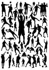 Football-Basketball Silhouettes Set