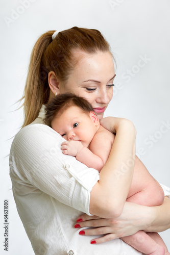 Portrait of newborn baby and his mother