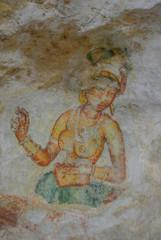 Ancient cave paintings in Sigiriya, Sri Lanka.