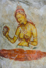 Ancient cave paintings in Sigiriya, Sri Lanka.