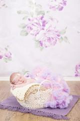Newborn kleines Mädchen in einem Häkelkorb pink