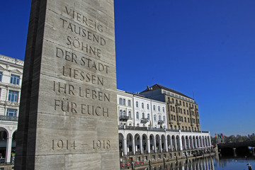 Barlach-Stele, Alsterarkaden - Hamburg