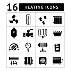 Set icons of heating