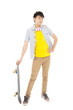 funky young man standing and holding a skateboard