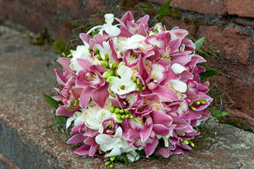 Bouquet from orchids, roses, irises and other flowers