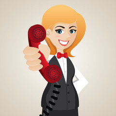 cartoon public relation holding telephone