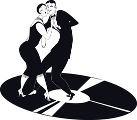 Couple dancing tango on a vinyl record clipart
