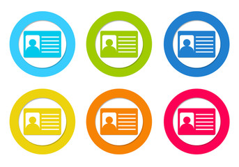 Colorful rounded icons with identification card symbol