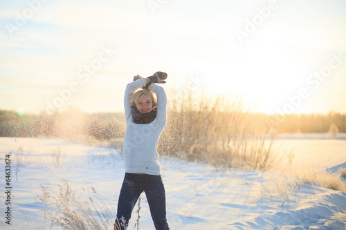 canvas print picture Happy female in winter forest