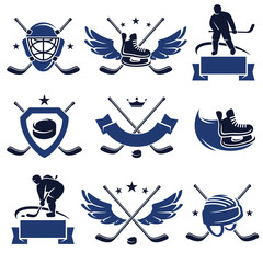 Hockey labels and icons set. Vector