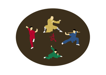 The illustration, four men are engaged Kung fu
