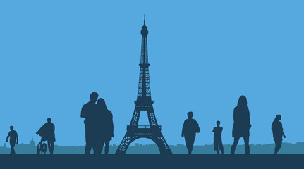 Paris. The Eiffel Tower on a blue background.