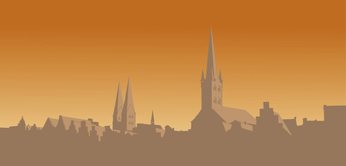 Contour of the old city on an orange background