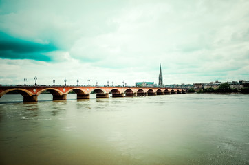 Old stony bridge in Bordeaux