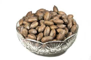 Unshelled Pecan Nuts in Decorative Glass Bowl