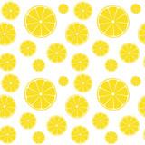 Fototapety Lemons slices on white seamless pattern