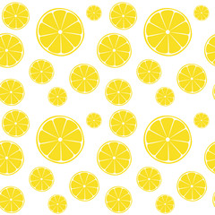 Lemons slices on white seamless pattern