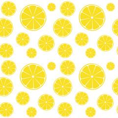 Lemons slices on white seamless pattern