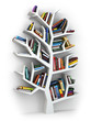 Obrazy na płótnie, fototapety, zdjęcia, fotoobrazy drukowane : Tree of knowledge. Bookshelf on white background.