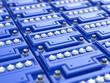 Car batteries background. Blue accumulators. - 64635875