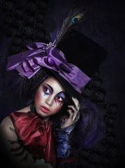 Pantomime. Clown in Fancy Carnival Hat with Artistic Makeup