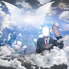 Obscured winged being and man reveals himself as being of light