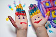 canvas print picture - Bemalte Kinderhände