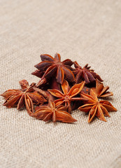 Anise stars on sackcloth