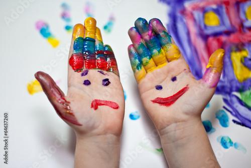 canvas print picture Bemalte Kinderhände