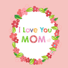 I love you mom with flower greeting card