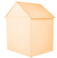 Cardboard house isolated on white