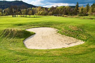 White sand bunker on the golf course