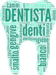 tag cloud a tema odontoiatrico a forma di dente