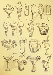 set of hand drawing alcohol coctail and ice cream