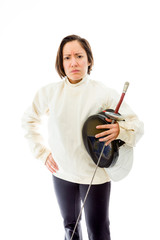 Female fencer standing with her hand on hip