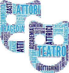 tag cloud inerente il teatro - pittogramma