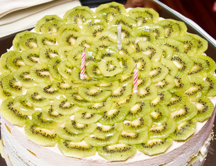 Birthday cake with kiwi