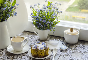 Polenta cake with cup of Coffee.