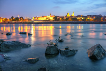 View of Warsaw by night from the river.HDR-high dynamic range