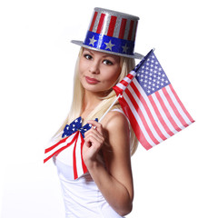 Blonde Girl waving Small American Flag isolated