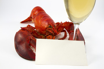 Whole Lobster with Wine Glass and Menu Card