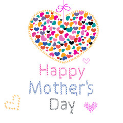 Happy Mother's Day greeting card with hearts