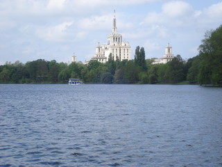 Herastrau lake in Bucharest, with side view of Press House